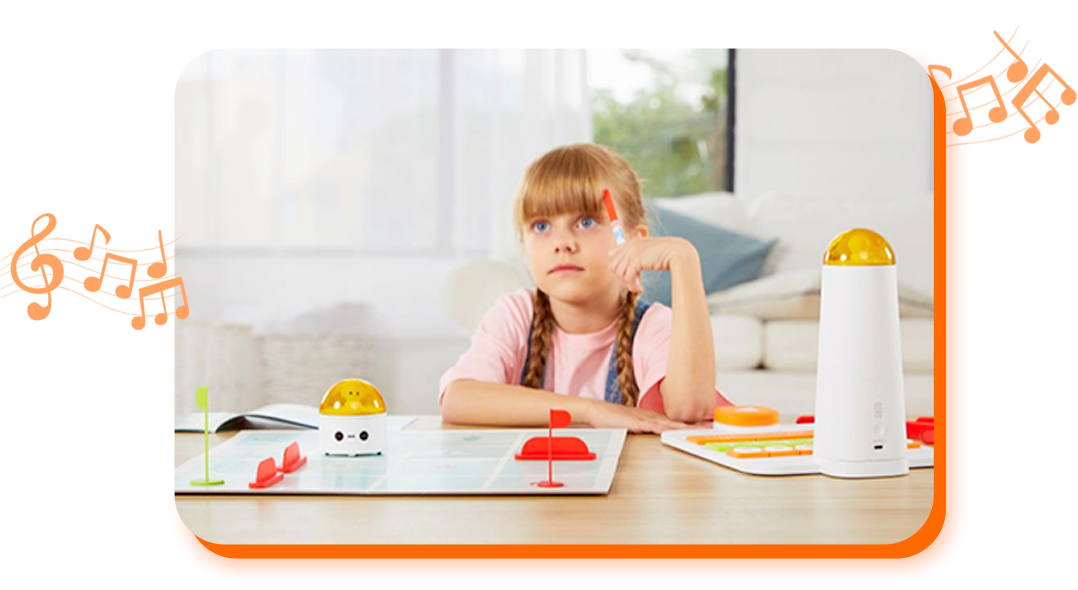 A Gril Listening Music - Coding Kits for Kids - Matatalab